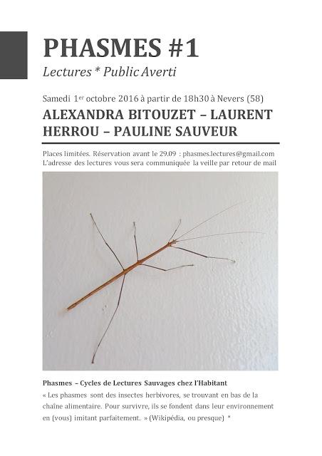 Pauline sauveur laurent herrou alexandra bitouzet auteurs collectif*public averti lectures chez l'habitant phasme #1